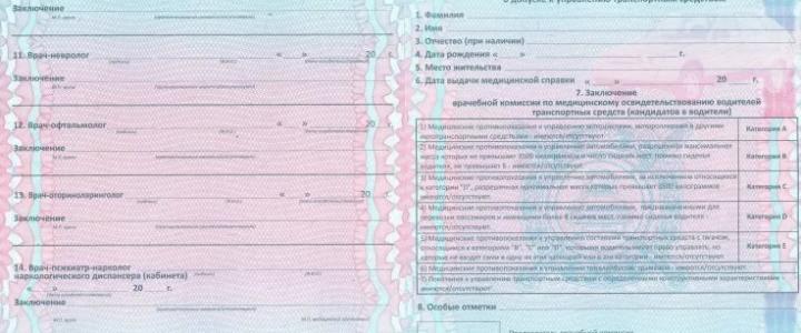 Срок годности медицинской справки на водительское удостоверение